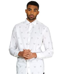 Juleskjorte til mænd med julemotiver.