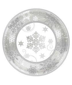 8 stk paptallerkner med sølv snefnug