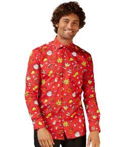Flot rød juleskjorte til mænd.
