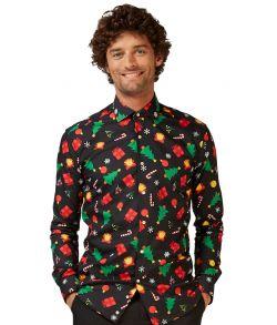 Sort juleskjorte til mænd.