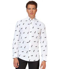 Juleskjorte til mænd med pingviner.