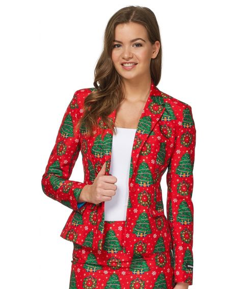Suitmeister - Billigt rødt jule jakkesæt i med grantræer til damer.