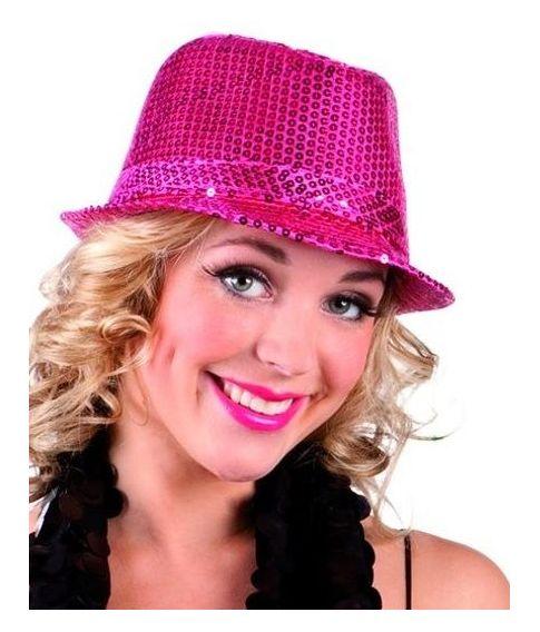 Popstar hat i hot pink med pailletter