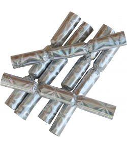 6 stk. metallic nytårsknallerter i holografisk sølv