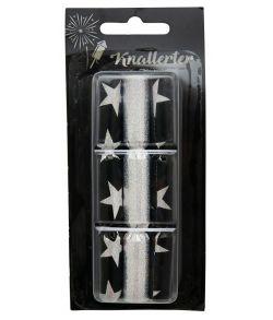 6 stk. metallic nytårsknallerter i sølv og sort stjerner