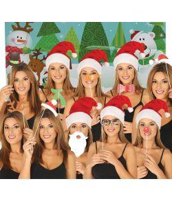 Jule fotosæt med 10 stk. motiver på pind til sjove jule billeder.