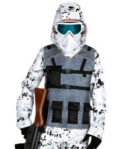 Soldat kostume med sne camouflage.