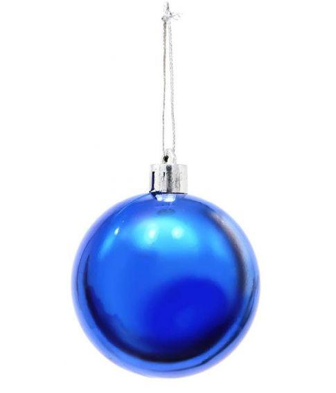 6 stk. blå julekugler i plastik