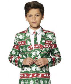 Grønt jule jakkesæt til drenge.