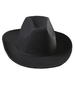 Sort cowboyhat til voksne.