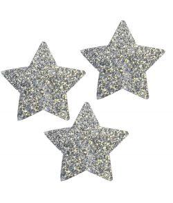 Pakke med 30 stk. sølvstjerner med glimmer, måler ca 4 cm