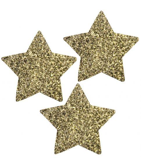 Pakke med 30 stk. guldstjerner med glimmer, måler ca 4 cm