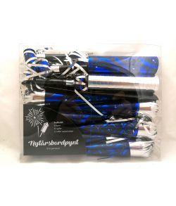 Nytårspynt 14 dele i blå og sølv