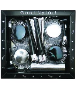 Nytårsæske, sølv og sort- 13 dele