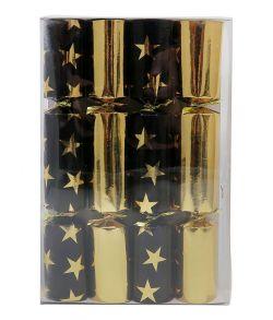 Store nytårs knallerter, guld og sort stjerner 21 cm