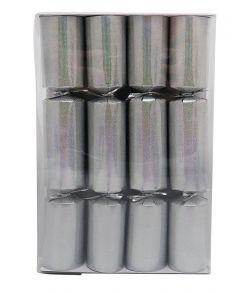 Store nytårs knallerter, sølv glimmer 21 cm