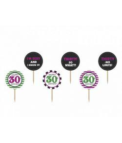 Cupcakesticks med 30 år og tekst til jubilæum eller fødselsdag