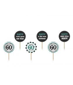Cupcakesticks med 60 år og tekst til jubilæum eller fødselsdag