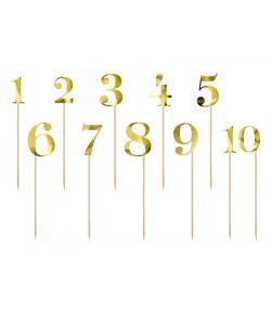 Guld tal på pind til bordnumre 0-19