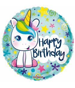 Folieballon Unicorn happy birthday
