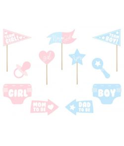 Boy or Girl selfiesticks sæt med 11 dele i lyserød og lyseblå
