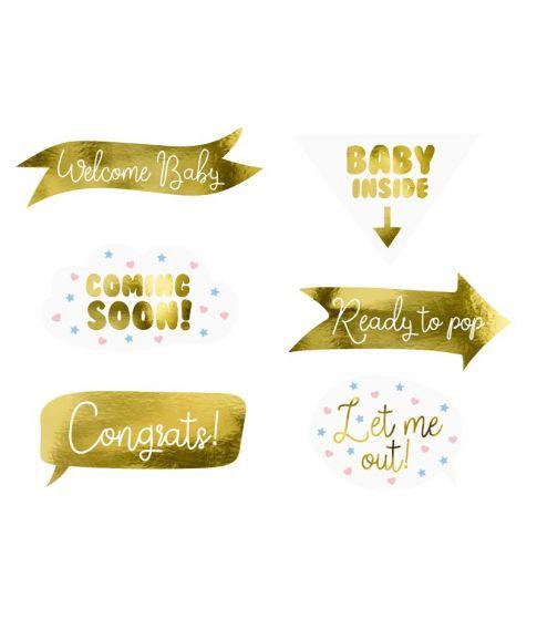 Baby shower selfiesticks sæt med 11 dele i guld