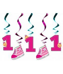5 stk. pink loftspiraler med fødselsdags pynt