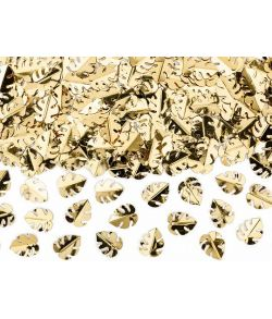 Blad konfetti i metallic guldfarve