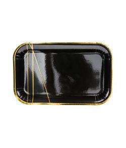Firkantede sorte pap tallerkner med guld detaljer