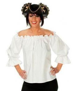 Hvid bluse til pirat udklædning.