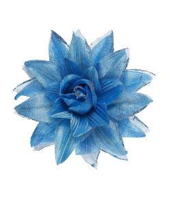 Blå blomst på hårklips