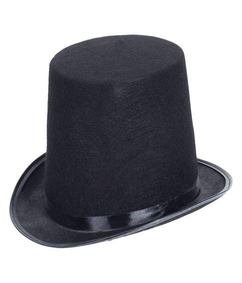Ekstra høj sort hat med filt