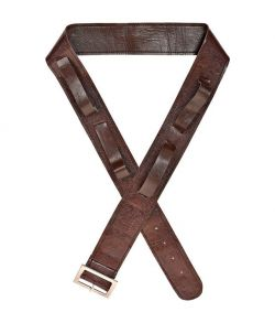 Brunt bælte i immiteret læder med holder til 4 våben