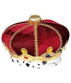 Royal krone i stof med farvede ædelsten