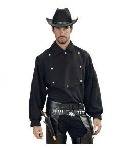 Sort cowboy skjorte til voksne.