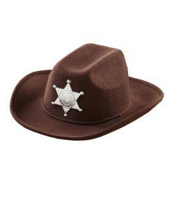 Brun Sherif Cowboyhat til børn.