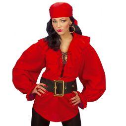 Rød skjorte til pirat udklædning.