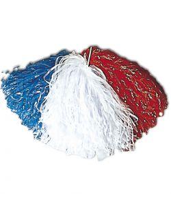 Blå, hvid og rød folie pom pom