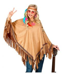 Poncho i suede look