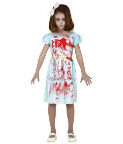 Uhyggeligt pige kostume med blodig kjole til halloween.