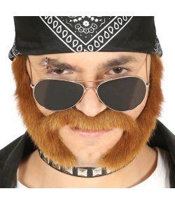 Brunt skæg med bakkenbarter.