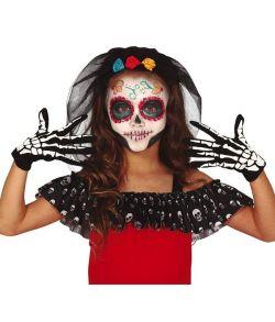 Sorte skelethandsker til børn