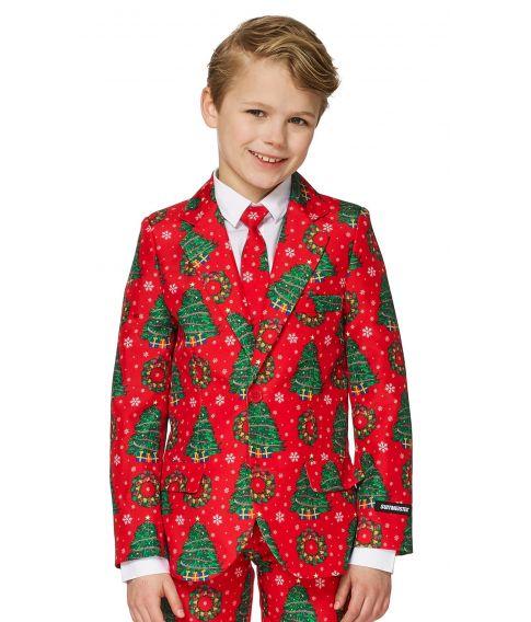 Rødt jule jakkesæt til drenge.