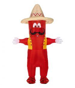 Oppustelig chili kostume til voksne.