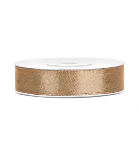 Lys guld satinbånd 12mm x 25m