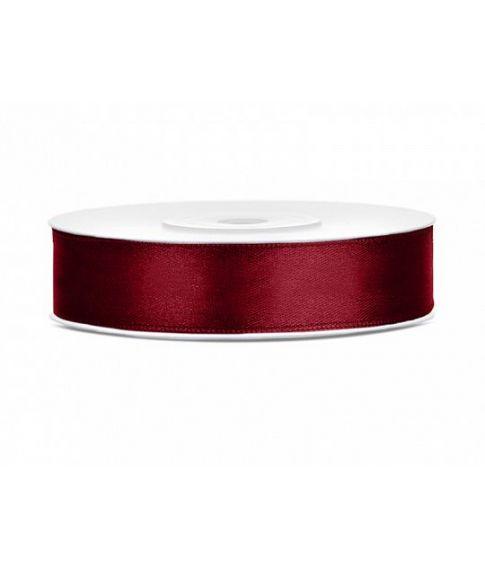 Dyb rød satinbånd 12mm x 25m