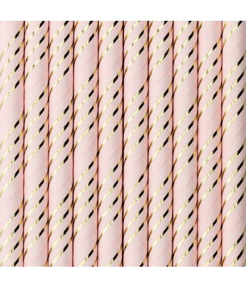 Lyserøde papir sugerør med guld striber