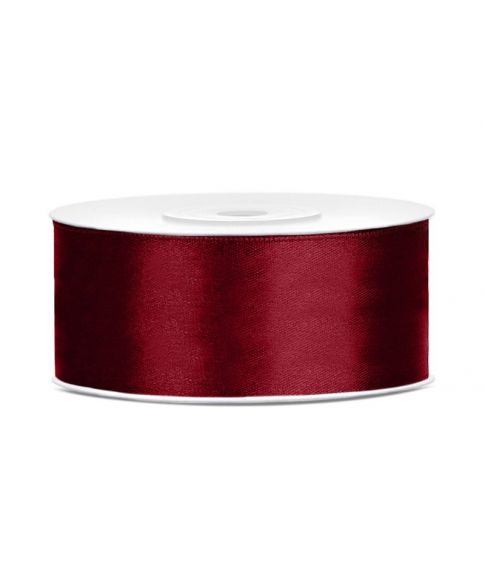 Dyb rød satinbånd 25mm x 25m