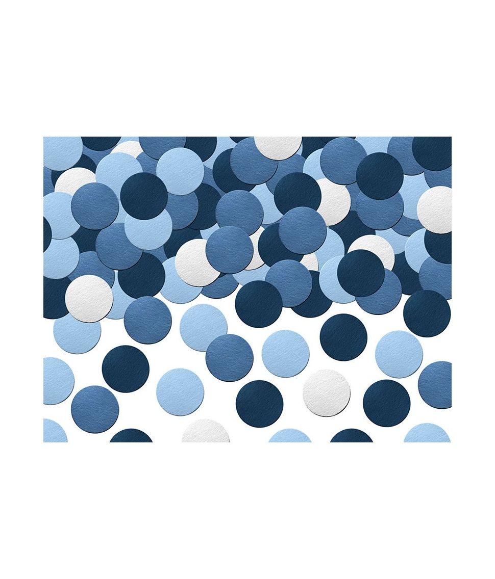 Blå og hvide konfetti cirkler