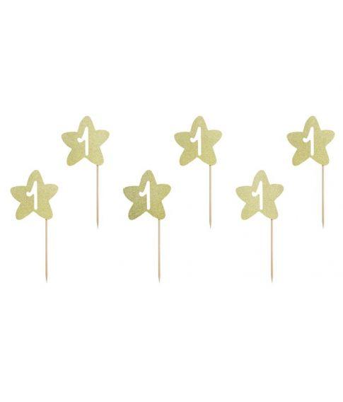 Cupcake pynt '1' Stjerne guld
